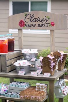 Food cart from Shabby Farmers Market Birthday Party at Kara's Party Ideas. See more at karaspartyideas.com!