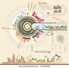 Infographics Industrial buildings and residential areas , Set Of vector infographics and Information Graphics - stock vector Information Design, Information Graphics, Isometric Map, Powerpoint Free, Timeline Design, Timeline Diagram, Marketing Words, Illustrator, Facade Design