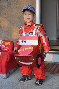 Diaper box race car, Halloween costume for Caden.