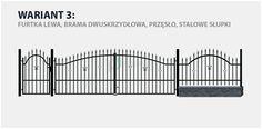Ogrodzenie klasyczne Majorka w wariancie z bramą dwuskrzydłową i stalowymi słupkami.