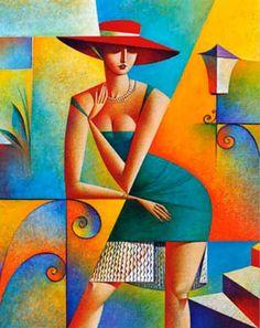 Georgy Kurasov, cuadros-modernos-decorativos-mujeres-cubistas