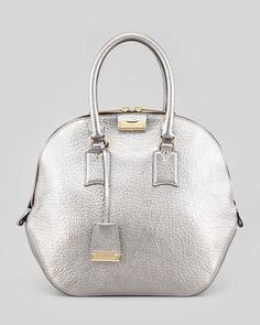 Medium Heritage-Grain Bowler Bag, Silver by Burberry at Neiman Marcus.