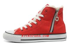 3bb4fff59b256b 2013 Red Converse Winter Chuck Taylor All Star Soft Nap Shearling Inside  Zipper High Tops Canvas