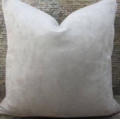 Designer Pillow Cover  Solid Gray Poly Suede  by 3BModLiving