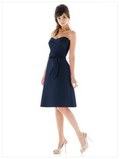 Alfred Sung Navy Blue Bridesmaid dress  Style D445