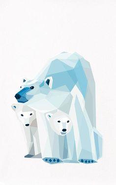 Polar bear and cubs by TinyKiwiCreations
