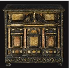 An Italian marble and mother-of-pearl mounted lacquer table cabinet, Venetian late  16th/early 17th century