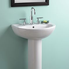 22 Inch Pedestal Sink : Bathroom Sinks - Evolution 22 Inch Pedestal Sink - White