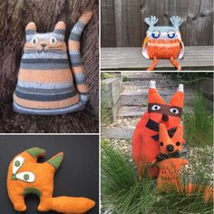 Orange creatures made by Three Woolly Owls