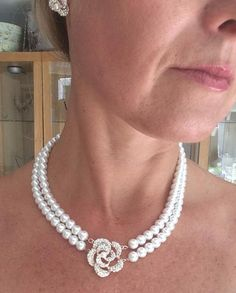 """VINTAGE 2 ROW PEARL CHOKER NECKLACE AND EARRINGS SET """"ENGLISH ROSE"""""""