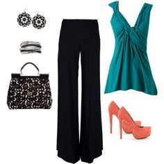 Teal top with black dress pants, created by afoss13 on Polyvore