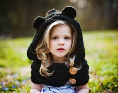 Must have one in mommy size!   Girls Cowl, Hooded Cowl, Bear Cowl, Crochet Bear Cowl, Crochet Hooded Bear Black Cowl Hat Toddler, Child, Teen/Adult Sizes, Made to Order
