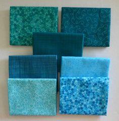 Basically Patrick Lose by RJR Fabrics~Cotton Fabric~Aqua~Fat Quarter Bundle of 7~Fast Shipping FQ546