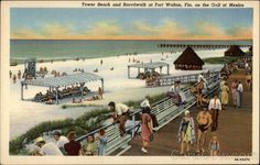 Tower Beach and Boardwalk at Fort Walton, Fla. on the Gulf of Mexico
