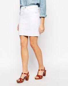New Look White Denim Mini Skirt