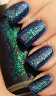 blue flakie nail polish - HITS Twist over Revlon Royal