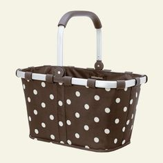 Carry Bag - Reisenthel Germany Collapsible Bag or Market Basket, Mocha Dots by Reisenthel. $43.99. Made in Germany. Cleans with water. Collapsible with soft rubber handle. Rigid bottom. Durable Polyester. Used all over Europe, its shape and size is ideal for the local farmers market and makes it a cinch to say no to the plastic bags usually handed out. Lightweight aluminum frame and polyester covering are durable and easy to clean. Collapses down for storage. Thic...