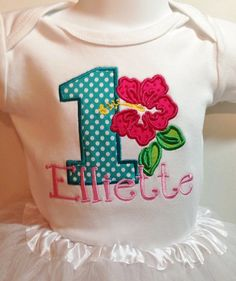 Luau  Birthday Personalized Shirt applique Fabric , Embroidered SHORT Sleeve shirt or Onesie with Name or Saying on Etsy, $23.95