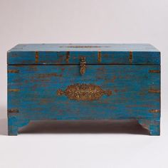 Diggin the eccentric blue color of this trunk. One of my favorite discoveries at WorldMarket.com: Blue Medallion Trunk