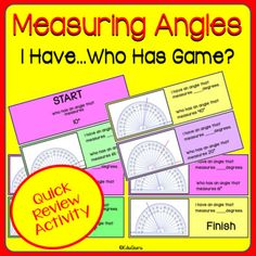 Measuring Angles I have ... who has Game is a WINNER! This cooperative learning game includes 28 color and 28 black and white cards. The purpose of the game is to practice measuring angles using a protractor. My students LOVE IT and I am sure yours will too! Cooperative Learning, Learning Games, Math Activities, Teaching Resources, Game Start, Student Engagement, Teacher Pay Teachers, Teacher Newsletter, Task Cards
