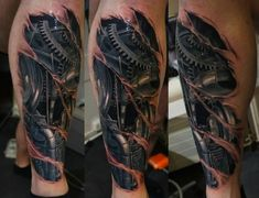Realistic leg biomechanical tattoo in 3 different angles #TattooModels #tattoo