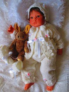 Ажурный костюмчик для новорожденного - белый,Костюм вязаный,костюм,костюм для новорожденного