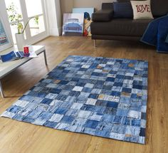 Make a denim rug out of old jeans