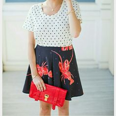 """Playful lobster skirt NWT *more sizes* Go down by the Bay in this Lobster skirt! So fun & playful, this skirt features lobsters on a black background with gray polka-dots.   Dress this versatile skirt up with a polka-dot top & heels or make it causal with a t-shirt, demin jacket & statement sneakers. You can even pair it will fun leggins' & booties.   Brand new w/tag 100%polyester Length approx 16"""" Waist seam to seam approx 14.5"""" Size 4 Designer Viva Vena by Vena Cava  (multiple sizes)…"""