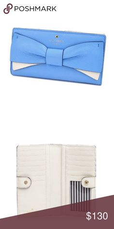 "FLASH SALE!! Kate Spade Stacy Eden Lane Wallet Super cute bow on the front of this traditional Stacy but with a pop of flair! NWT Dimensions: 6.75""W x 3.50""H x 1""D ✨no offers on FLASH SALE items, please. kate spade Bags Wallets"