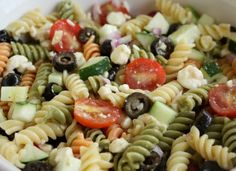 Feta and Vegetable Rotini Salad  3 cups tricolor rotini pasta, cooked, drained and cooled  1 cup feta cheese  1 cup halved cherry tomatoes  1 cup chopped cucumbers  1/2 cup sliced black olives  1/2 cup KRAFT Zesty Italian Dressing  1/4 cup finely chopped red onions  COMBINE ingredients. REFRIGERATE 1 hour