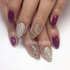 Winter nails, nail art. Gold with white detailing and OPI's Casino Royale