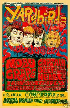 ☮ Yardbirds, Captain Beefheart, Moby Grape, Iron Butterfly. Santa Monica Civic Center. 1967. Classic Rock vintage poster ..