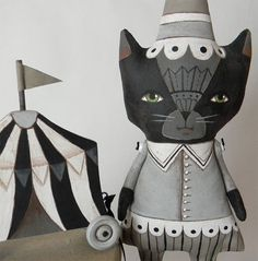 These are awesome! Black Cat Circus Doll Original Contemporary by cartbeforethehorse, $140.00