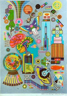 Philadelphia Print by Eduardo Paolozzi Art And Illustration, Illustrations, Eduardo Paolozzi, James Rosenquist, Pop Art Movement, Hamilton, Cultura Pop, Psychedelic Art, Art Sketchbook