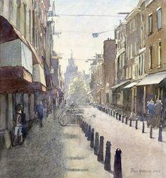 Titus Meeuws impressionist - Nieuwe Spiegelstraat Amsterdam. Watercolour. 42 x 41 cm