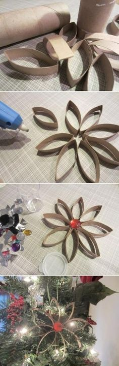 Toilet Paper Roll Christmas Snowflake Crafts | 21 Toilet Paper Roll Craft Ideas by esperanza