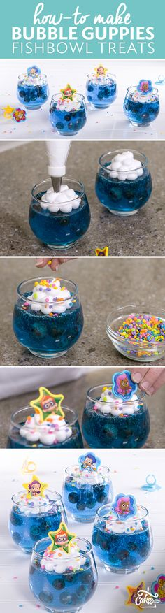 How-To Make Bubble Guppies Gelatin Fishbowl Birthday Treats How-To Bubble Guppies machen Gelatine Fi Birthday Treats, 3rd Birthday Parties, Baby Birthday, School Birthday, Classroom Birthday, Frozen Birthday, Bubble Guppies Party, Bubble Party, Elegante Desserts