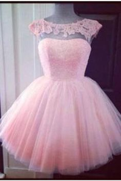 Cute Pink Cap Sleeve Appliques Homecoming Dress Mini Tulle TR0036