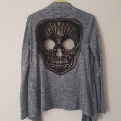 Grey cardigan with skull lace application at the back Debenhams  https://www.depop.com/ccgalaxy/ccgalaxy-soft-grey-cardigan-with-skull  #depop #debenhams #skullclothes #softgreycardigan