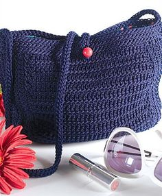 Navy Nylon Purse By Sue Roe - Purchased Crochet Pattern - (ravelry)
