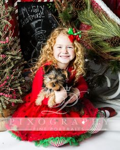 Christmas girl and puppy