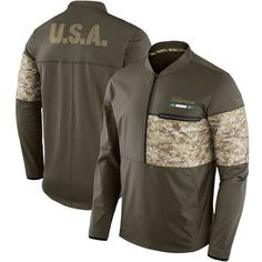 3c86d2e381b Men s Miami Dolphins Nike Olive Salute to Service Sideline Hybrid Half-Zip  Pullover Jacket Dallas