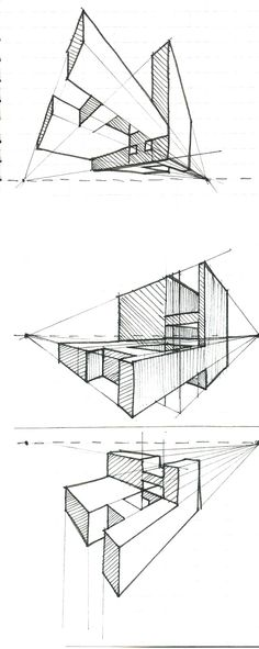 Archified: Two Point Perspective H& Concept Models Architecture, Architecture Concept Drawings, Architecture Sketchbook, Beginner Drawing Lessons, Drawing For Beginners, Perspective Sketch, One Point Perspective, Orthographic Drawing, Learn Art