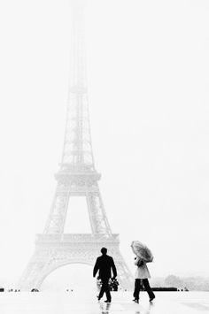 """Saatchi Art Artist: Owen Franken; Black & White Photography """"In the rain at the Eiffel Tower"""""""