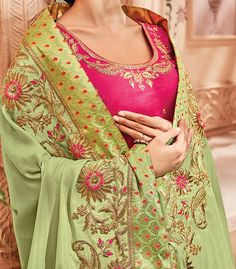 Pista Green & Pink Designer Heavy Embroidered Wedding Silk Saree Embroidery Suits Punjabi, Hand Embroidery Dress, Kurti Embroidery Design, Punjabi Suits Designer Boutique, Indian Designer Outfits, Indian Outfits, Bridal Suits Punjabi, Punjabi Suits Party Wear, Color Combinations For Clothes