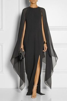 Michael Kors Stretch-wool and silk-georgette gown - Simple flowy black gown