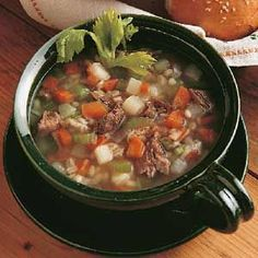 Scotch Broth - thick soup made of vegetables and a meat broth   This has JT written all over it.