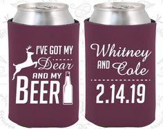 I've got my dear and my beer, Wedding Keepsake, Deer Antler Wedding, Antler Wedding, Antler Favors, Personalized Koozies (295)
