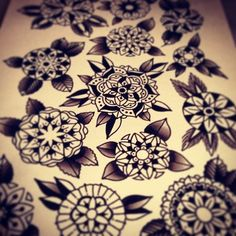 Classic Flowers Tattoo Flash. I'll be getting a traditional flower on my elbow. :)