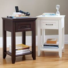 Hampton Classic Bed | PBteen bedside table 20 W 16.5 D 28 H white or dark espresso $199